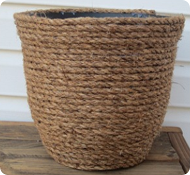 DIY Rope Planter. I Did This With A Wicker Basket For Toy Storage. #