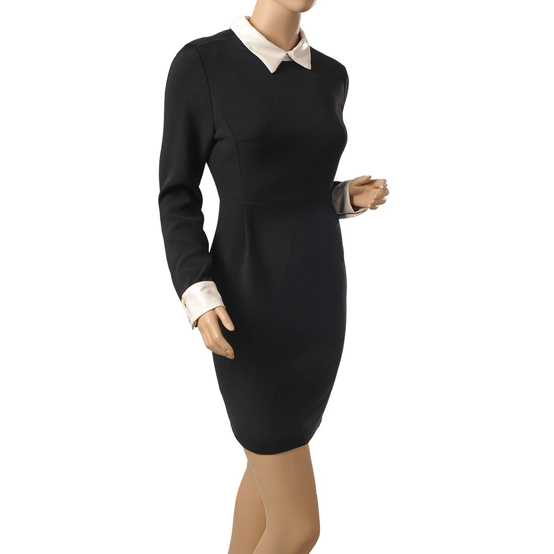 Womens New Fashion Collar Long Sleeve Bodycon Office Dress Slim Fit Features Intro Office Dress White Collar And Fashion Long Sleeve Bodycon Womens Fashion [ 1100 x 1100 Pixel ]