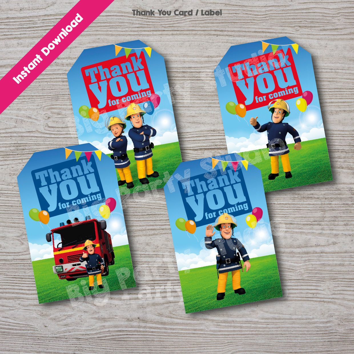 Fireman Sam Appreciation Thank You Card Fireman Sam Thank You Tag Label Birthday Printable