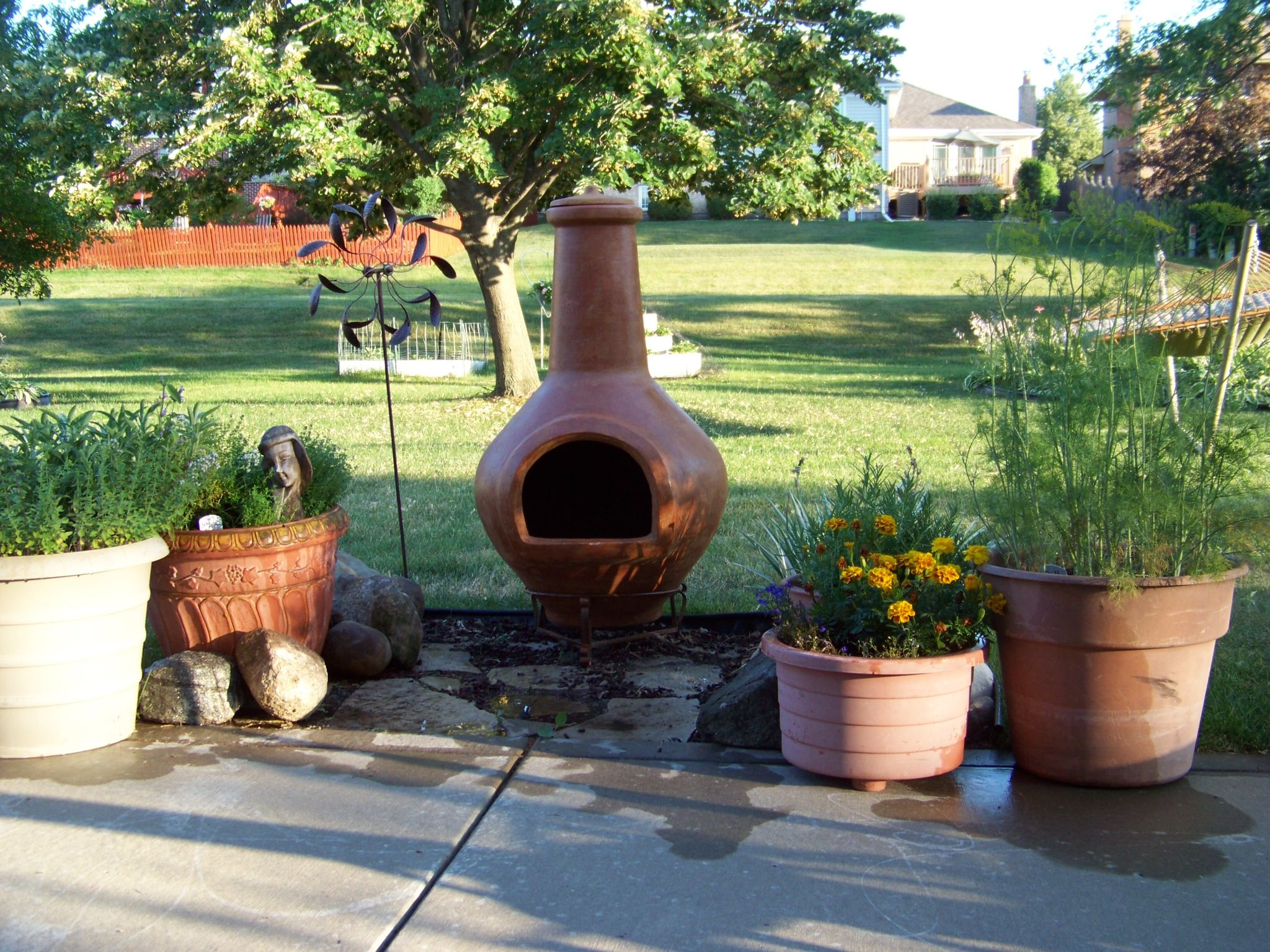 Our new chiminea fire pit | Light My Fire! | Pinterest ... on Backyard Chiminea Ideas id=40517
