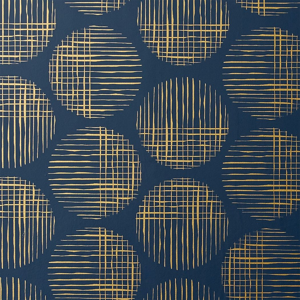 Cross Hatch Circles Gold and Navy Wallpaper + Reviews in