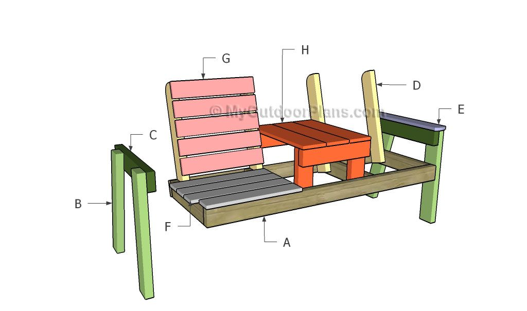 Double Chair Bench With Table Plans Myoutdoorplans Free Woodworking Plans And Projec Outdoor Furniture Plans Woodworking Plans Free Build Outdoor Furniture
