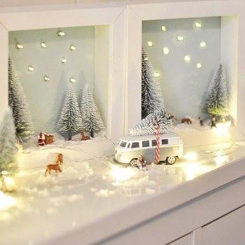 Miniatur-Winterwald im IKEA RIBBA-Bilderrahmen mit kleinem Reh, dekorativem ... #fensterdekoweihnachtenbasteln
