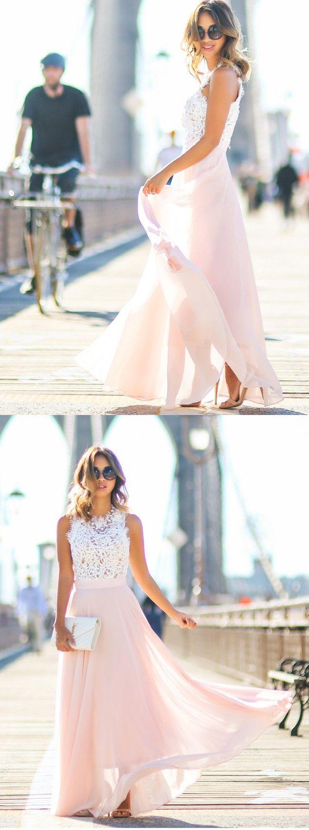 Lang Rosa Spitze Chiffon Abendkleid Sommerkleider