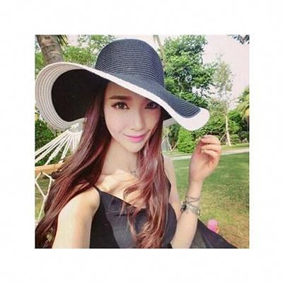 2017 New Folding Black and White Striped Big Straw Woman s Beachwear Hat.  Brand Name  SUOGRY Item Type  Sun Hats Gender  Women Department Name  Adult  ... 9ceeea8c28eb