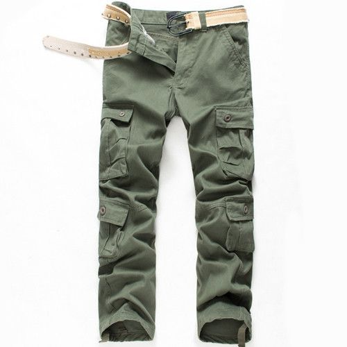 f32f78dc169 Plus Size 29-40 New Brand Men Cargo Pants Long Straight Trousers Khaki Solid  Color
