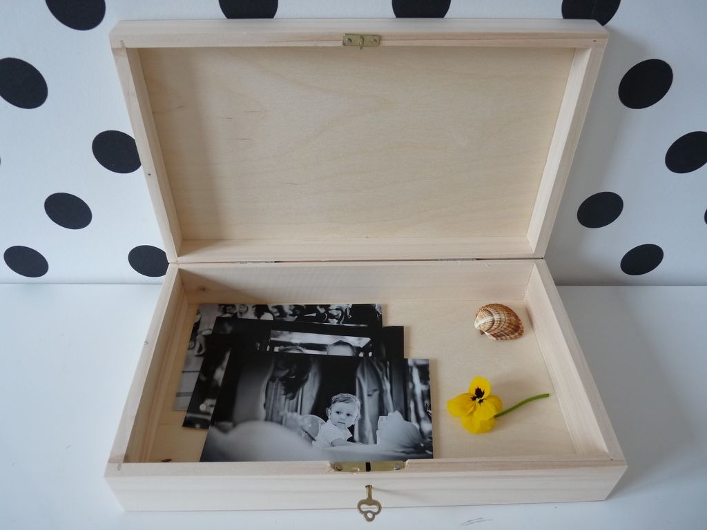 XL unpainted wooden box with key for decoupage jewelry box box for
