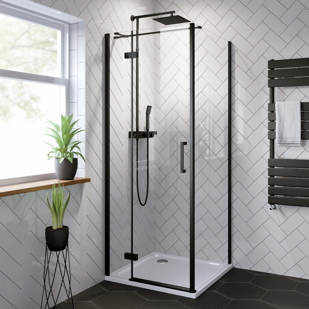 Black Shower Enclosure With Hinged Door 800x800mm Soak Com Black Shower Doors Square Shower Enclosures Black Shower