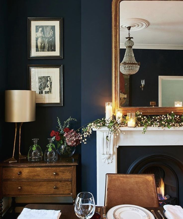 Brown And Blue Dining Room: Navy Blue Wall And White Mantel With Gold Mirror