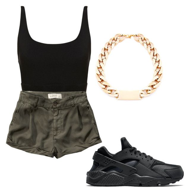"""""""⚫"""" by naebewittit ❤ liked on Polyvore featuring Abercrombie & Fitch and NIKE"""