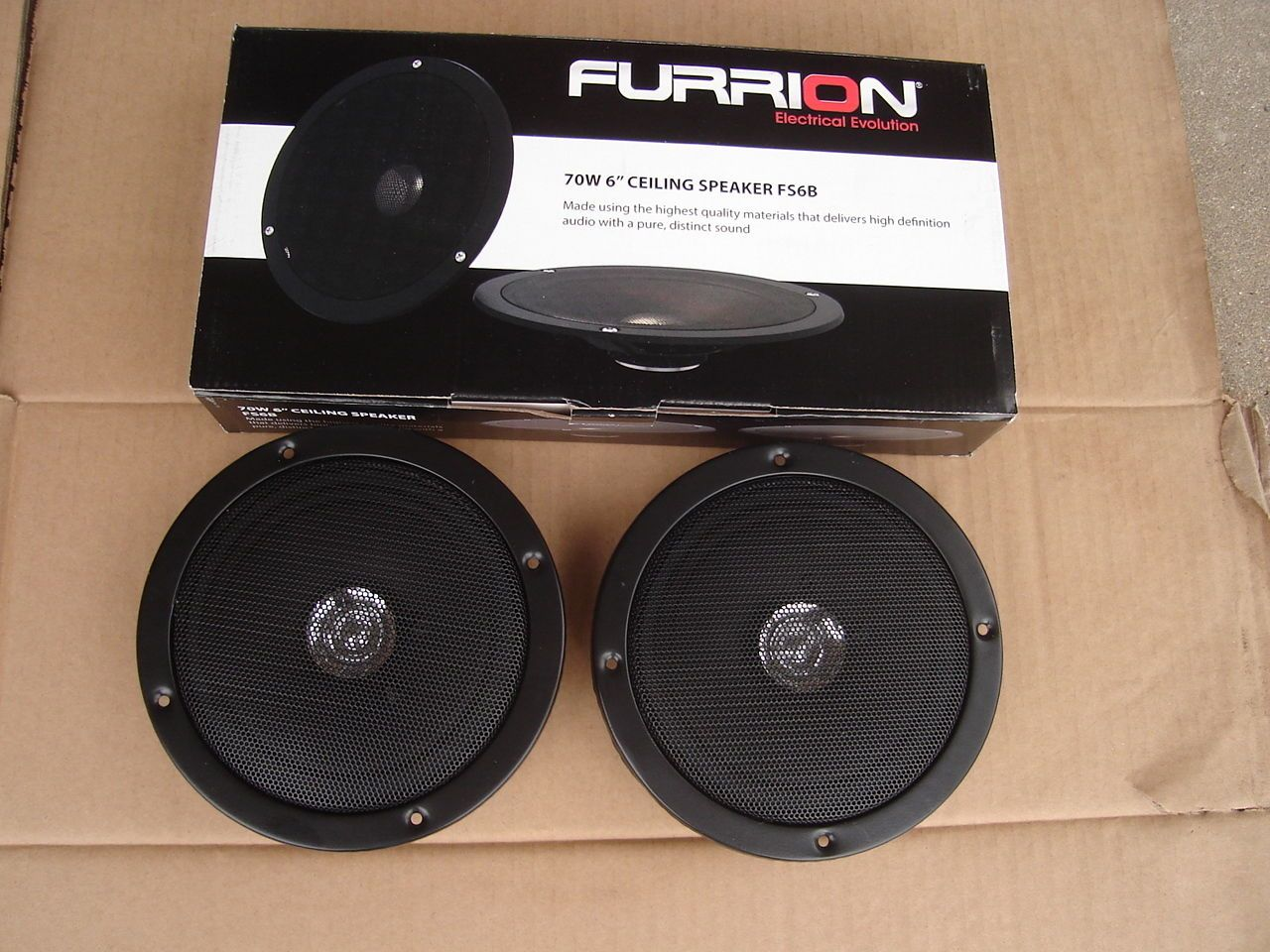 "pair of round 6"" ceiling speakers 70 watts 4 ohms furrion fs6b"