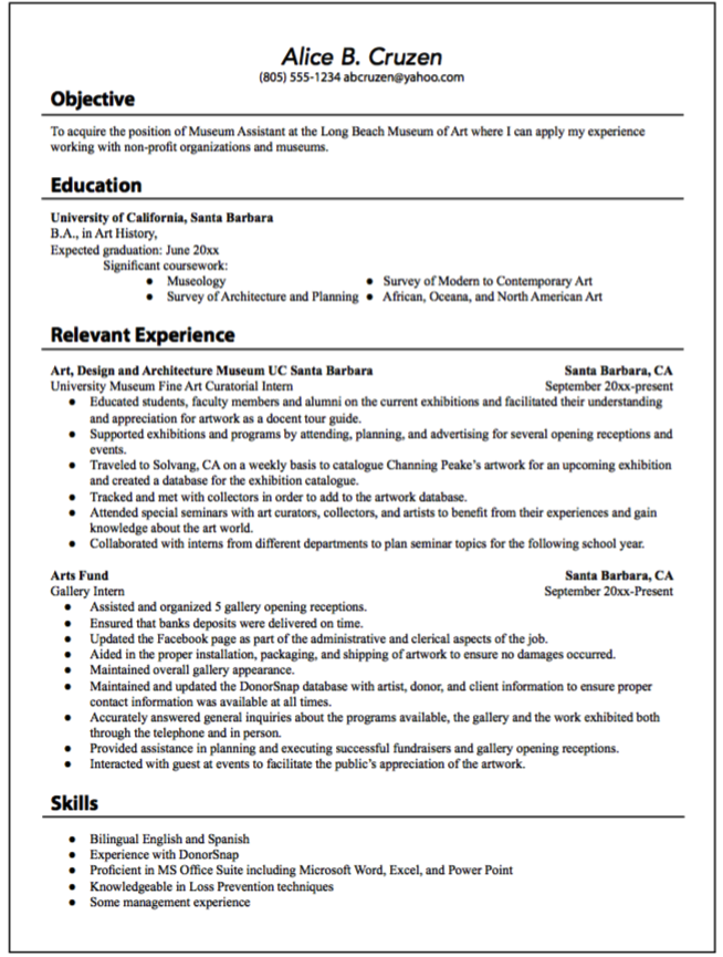 Museum Assistant Position Resume Examples Resume Cv