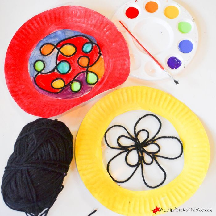 We made beautiful stained glass paper plates with typical things from our hoard of craft supplies. They look lovely hanging on our window and the kids were ... & We made beautiful stained glass paper plates with typical things ...