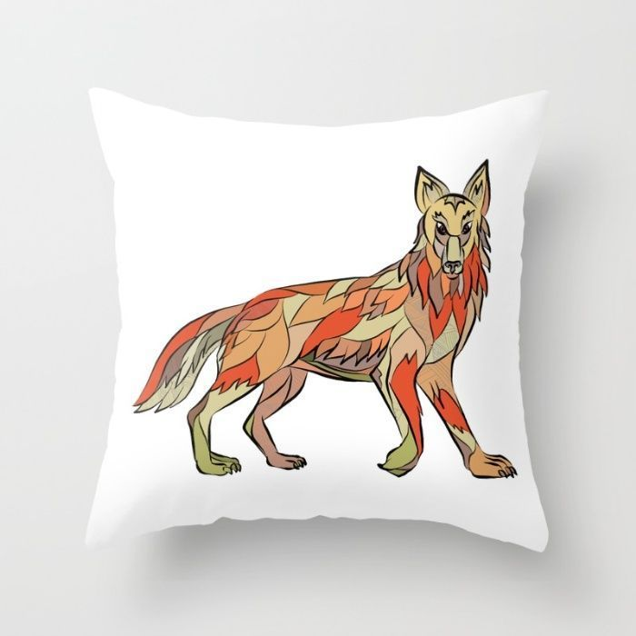 Coyote Side Isolated Drawing Throw Pillow Drawing sketch style illustration of a coyote wild dog viewed from the side facing front set on isolated white background Drawin...
