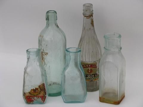 Lot Old Antique Glass Jars Vintage Condiment Olive Or Pickle