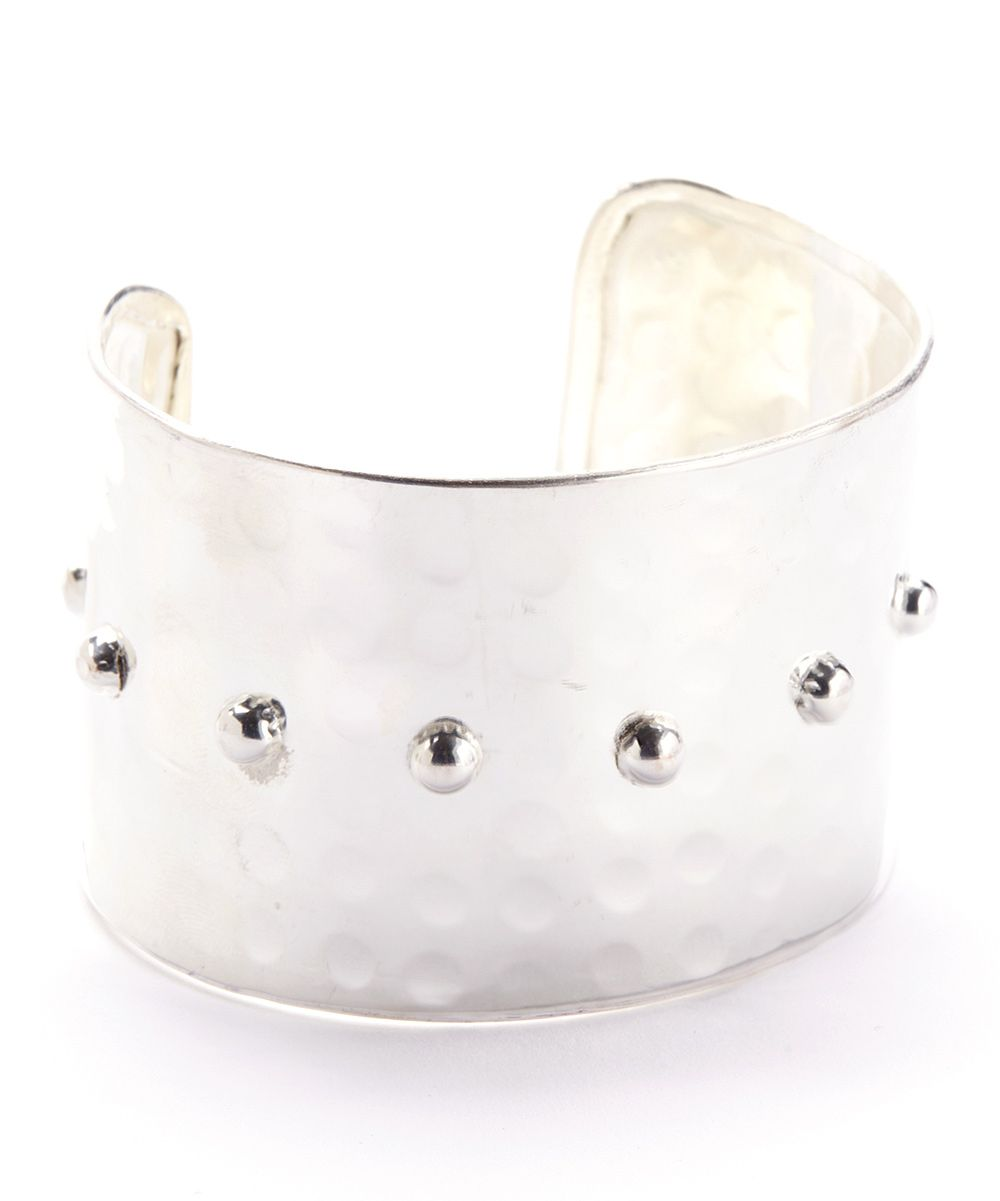 Silver Hammered Dots Cuff//