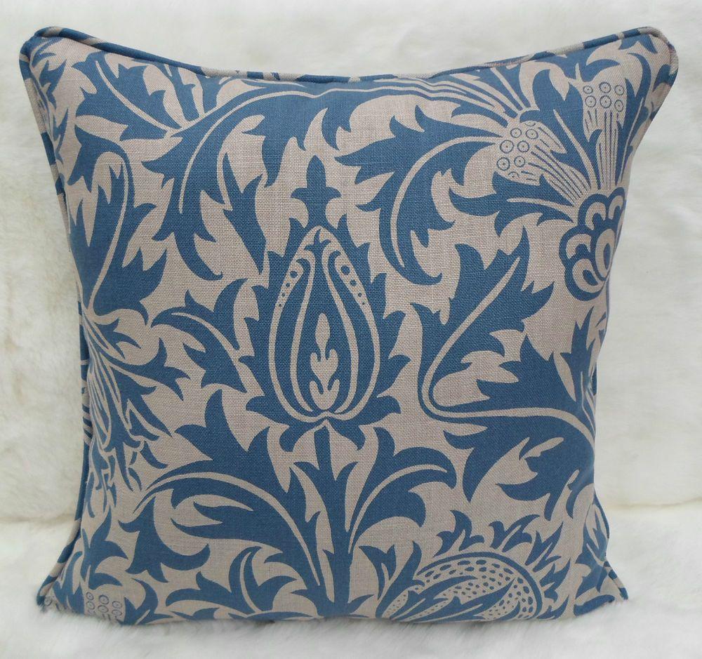 William Morris Fabric, Cushion Cover~ 'Thistle'  Indigo/Linen 100% Linen
