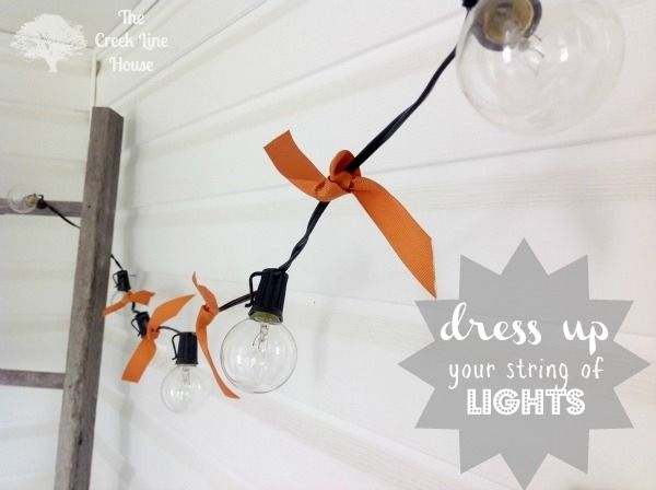 Tie ribbons between lights. | 46 Awesome String-Light DIYs For Any Occasion