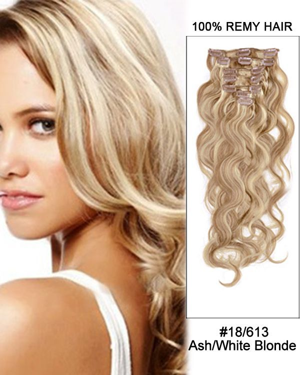 14 7pcs 18613 Ash White Blonde Body Wave 100 Remy Hair Clip In