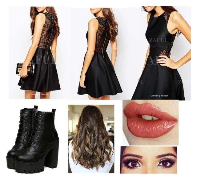 """Simple black dress"" by futbol14 ❤ liked on Polyvore"