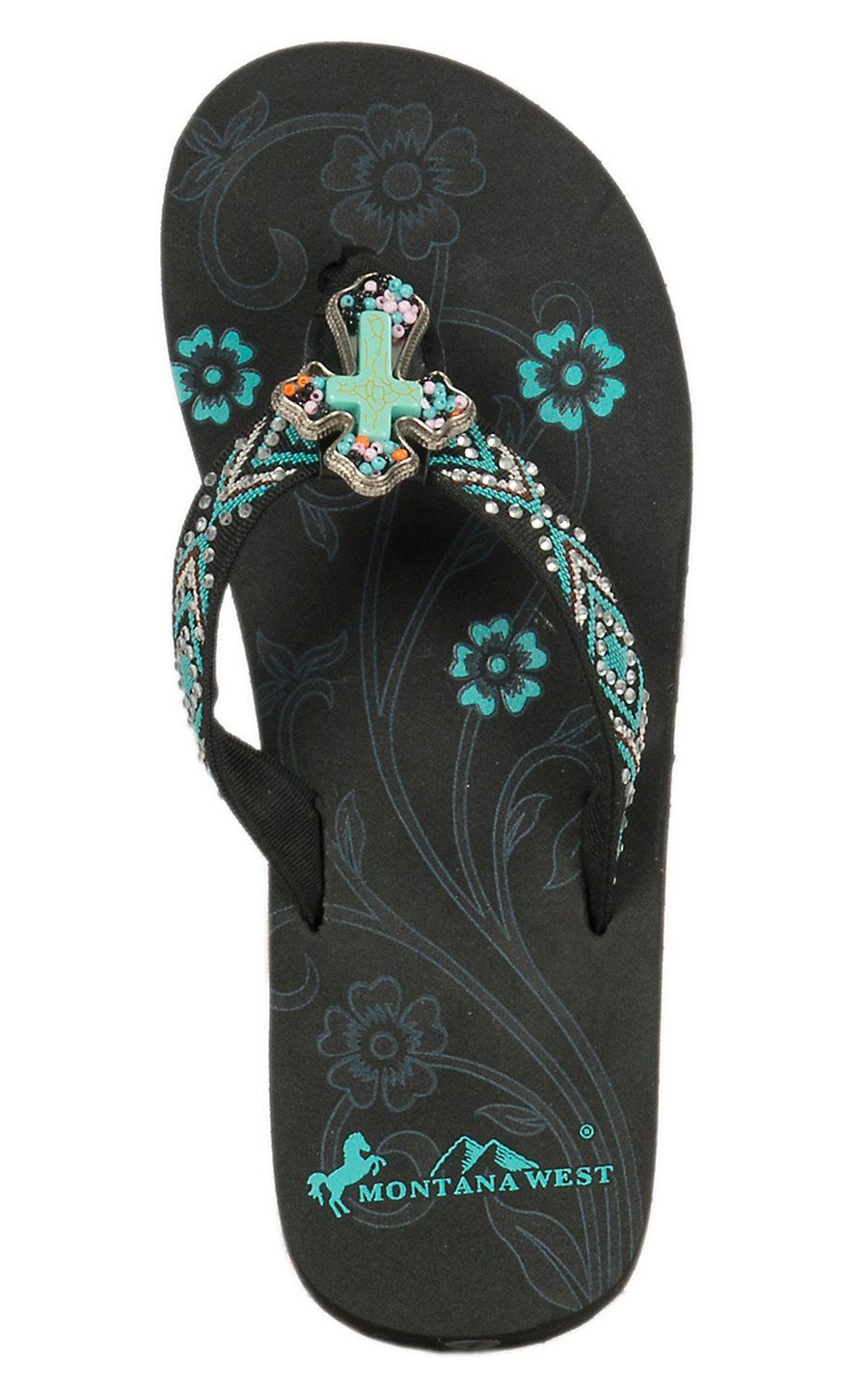 Montana West Womens Black With Turquoise Cross Concho -6403