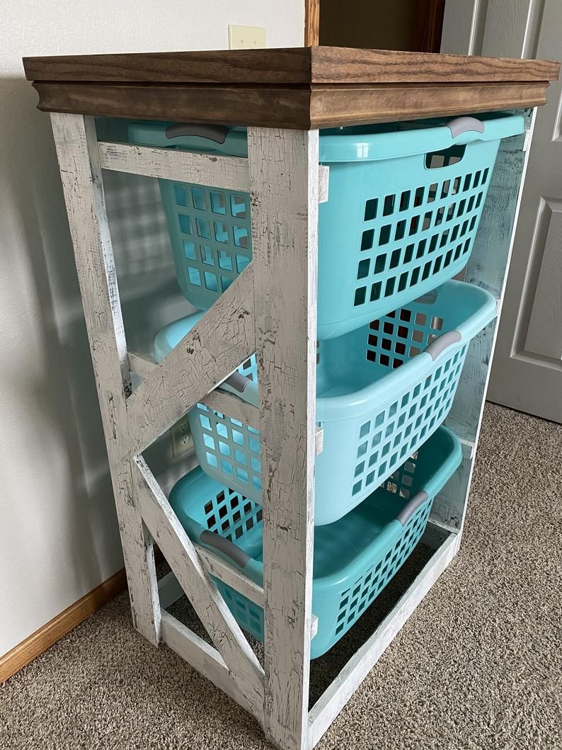 Rustic Farmhouse Style Laundry Hamper Basket Organizer Laundry