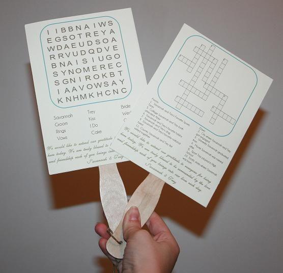 Diy Wedding Fan Words Ceremony Programs Crossword Program Fans Word