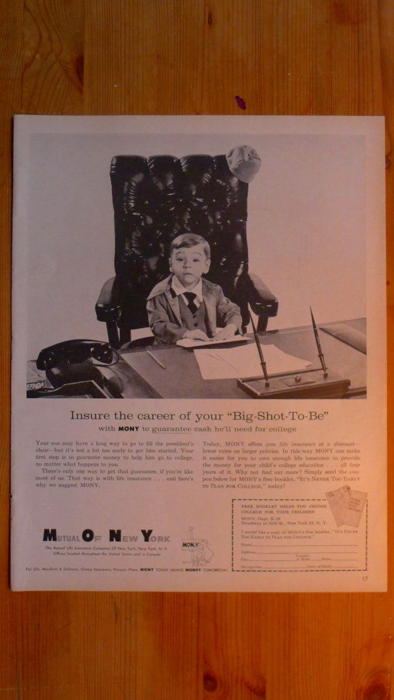 1959 Look Magazine Mutual Life Insurance Company Of New York Ad