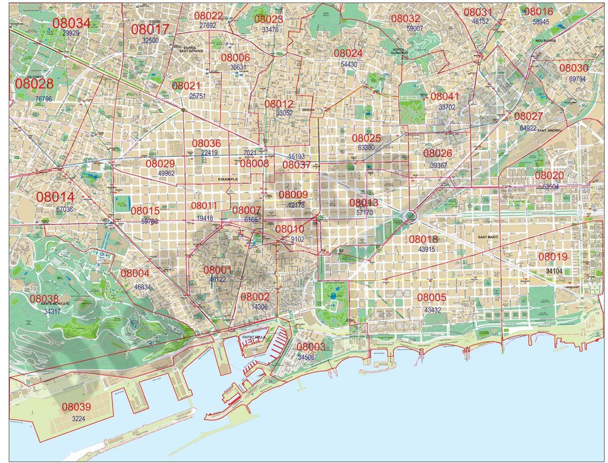 Mapa Codigo Postal Barcelona Mapas Mapas Murales Mapas Del Mundo