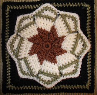 This is my adaptation of the vintage Whirligig or Pinwheel pattern most popular over the decades for use as a hotpad/trivet or cushion cover due to its puffy thickness and circular shape.