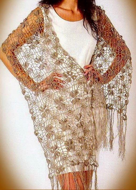 Fine Lace Flower Motif Crochet Shawl Pattern | Wrap | Pinterest ...