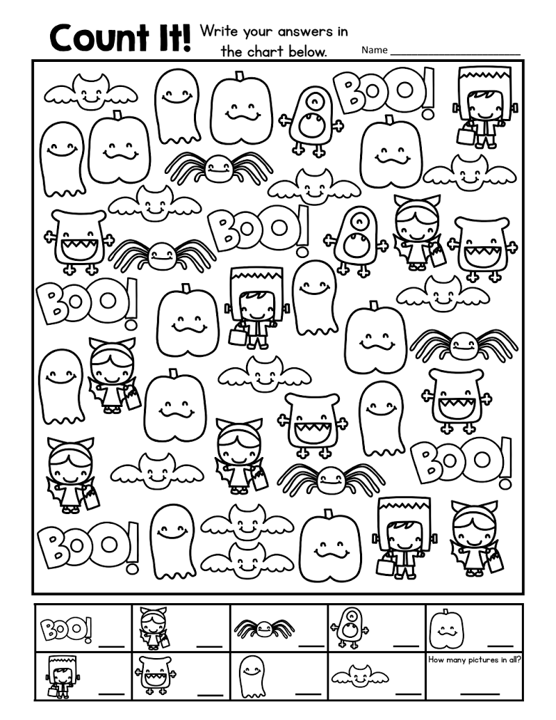 Halloween count and recordpdf Kindergarten – Halloween Fun Worksheets