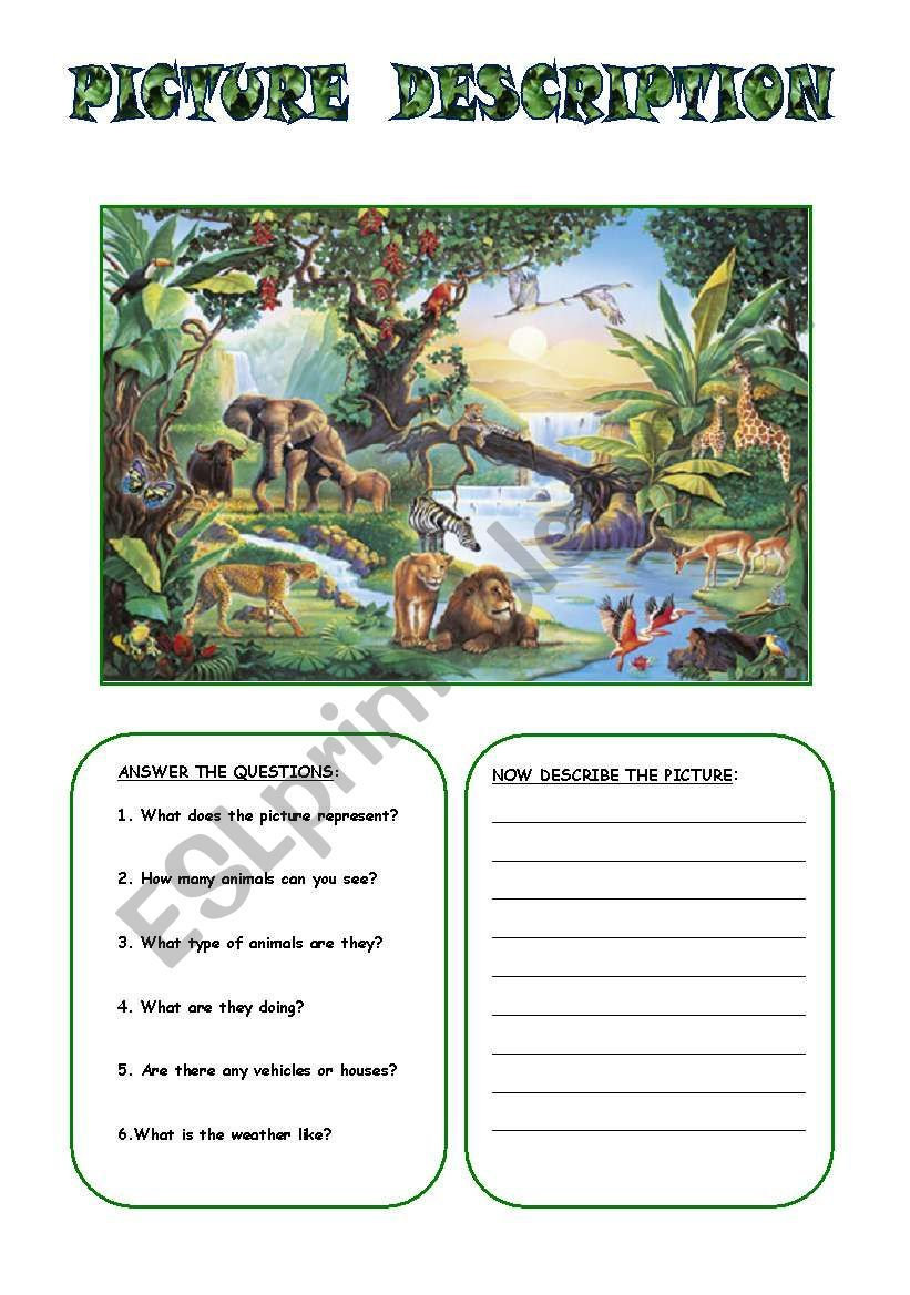 Another worksheet to practise picture description and vocabulary on animals.    Picture comprehension [ 1169 x 821 Pixel ]