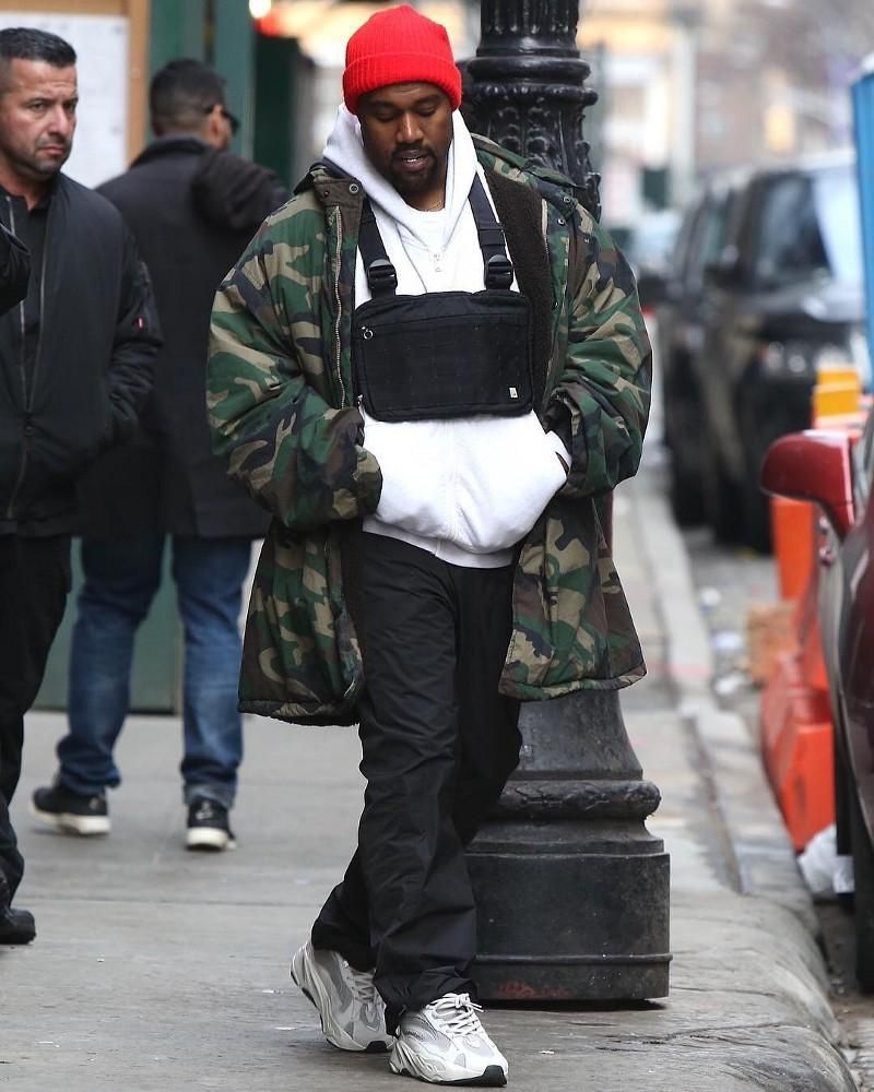 Kanye West Innovates Wearing ALYX Chest Rig Pouch