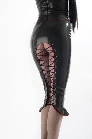 ae487ff48 Killer latex corset pencil skirt. Wish I had the ass to go with it.