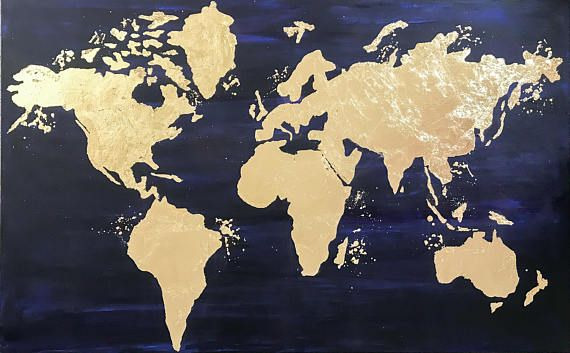 World map canvas world map wall art gold leaf painting map diy world map canvas world map wall art gold leaf painting map gumiabroncs Choice Image