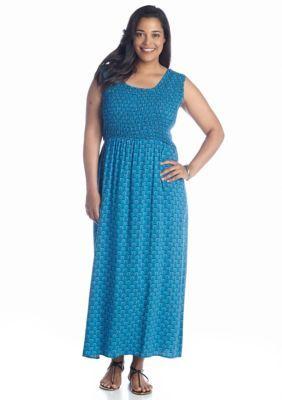 f73010894b7 Kim Rogers Plus Size Sleeveless Printed Smocked Maxi Dress