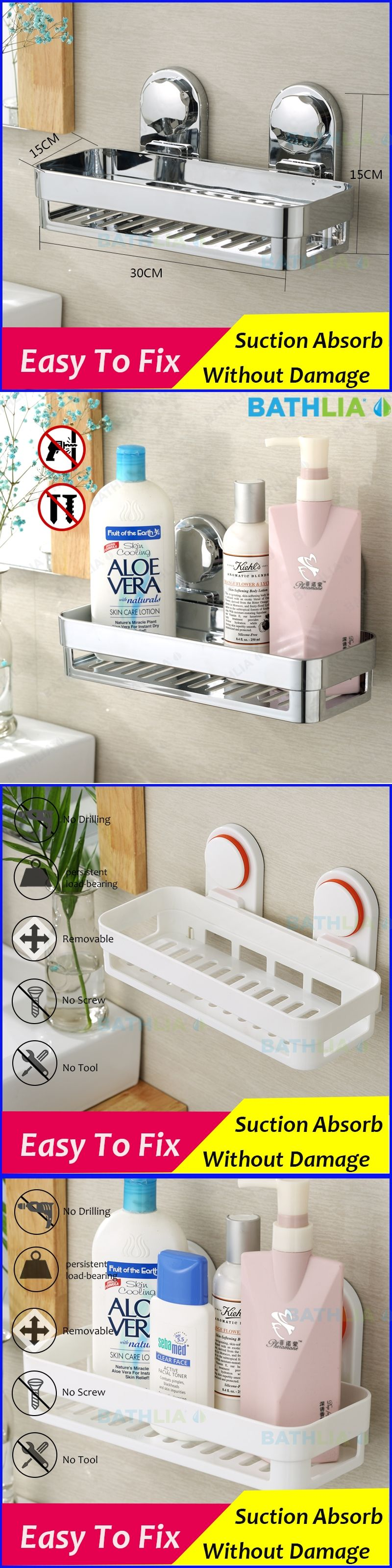 Bathroom Accessories Corner Rack Shower Caddy Shelf Bathroom Shampoo Holder  With Suction Cup Super Big
