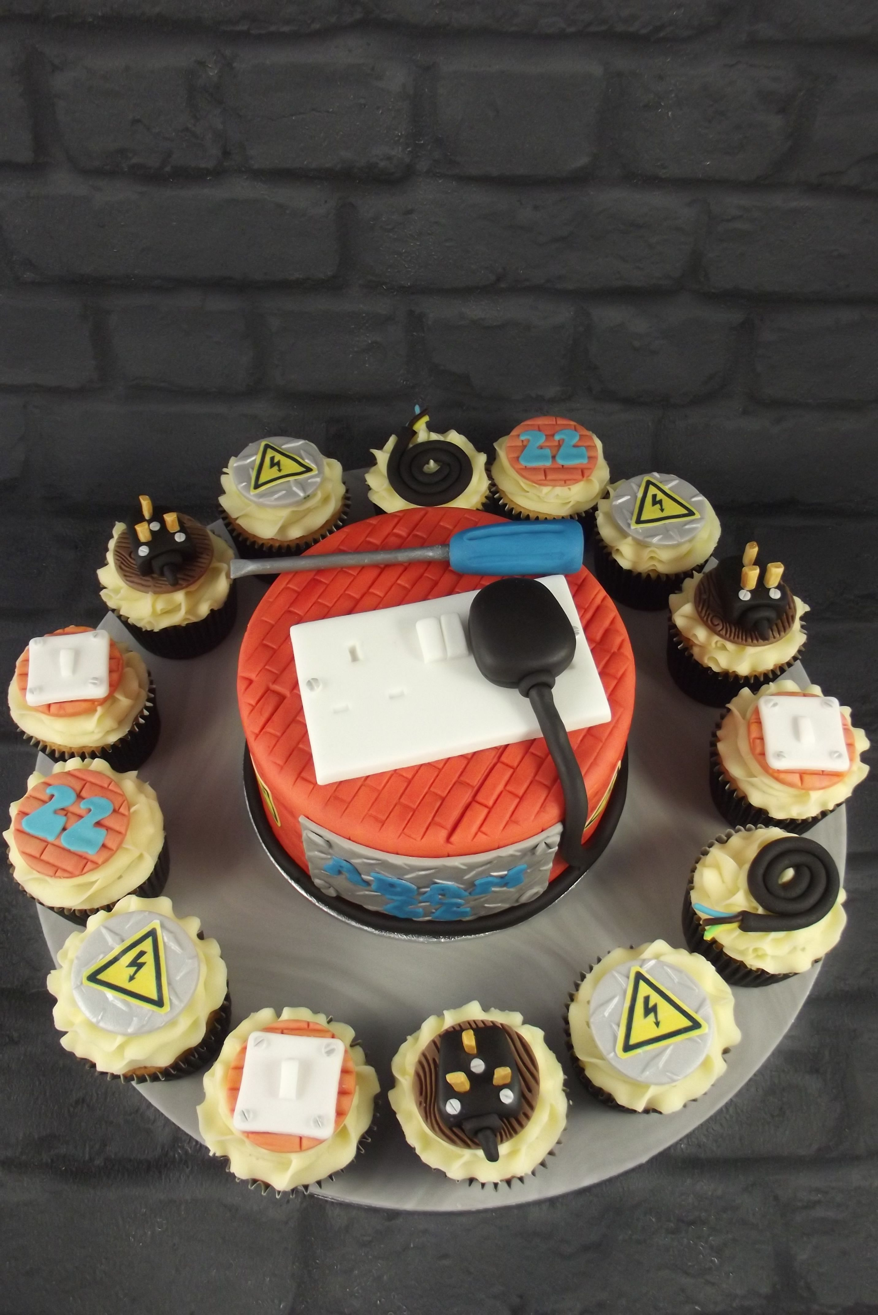 Electricians Birthday Cake And Cupcakes