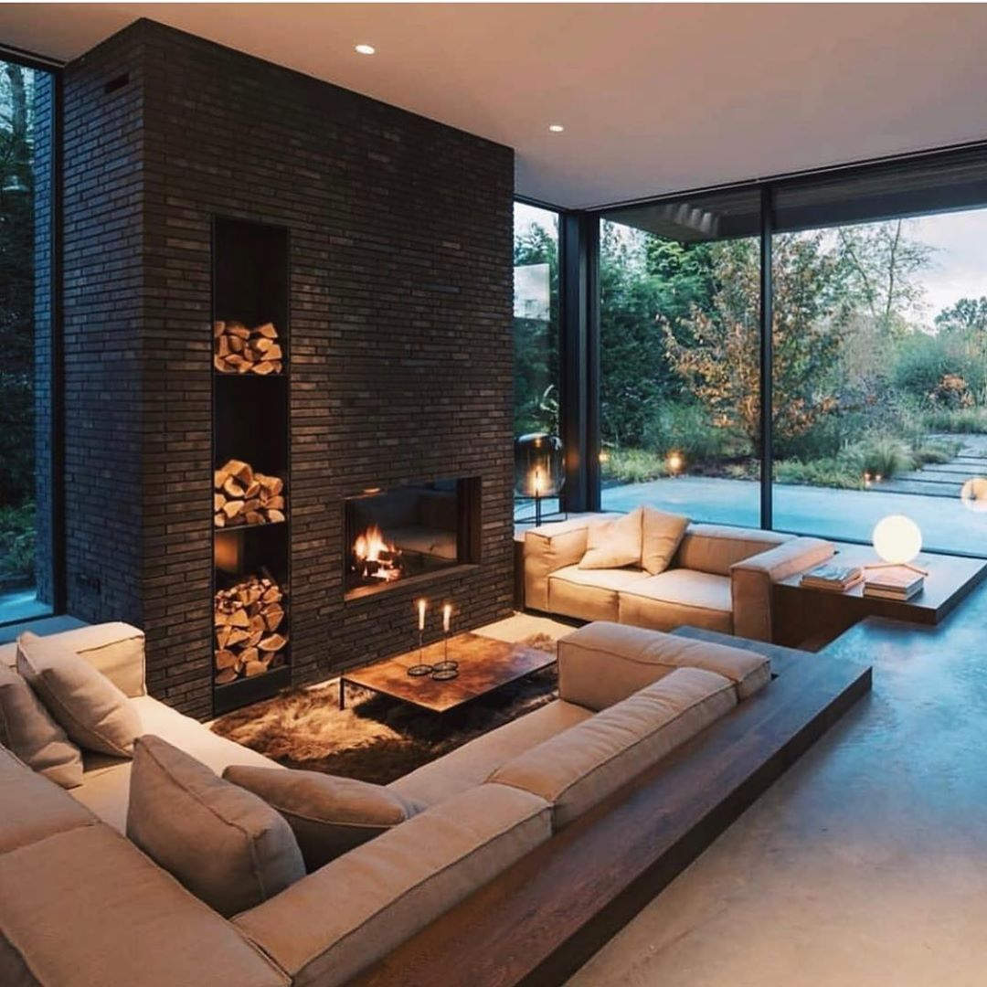All I Want Every Night Is Just To Sit By The Fireplace Via Loftisallyouneed For More Inspirations Follow Sunken Living Room Fancy Houses Modern House Design