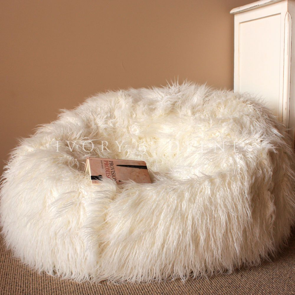 Prime Details About Large Cream Shaggy Fur Bean Bag Cover Cloud Squirreltailoven Fun Painted Chair Ideas Images Squirreltailovenorg