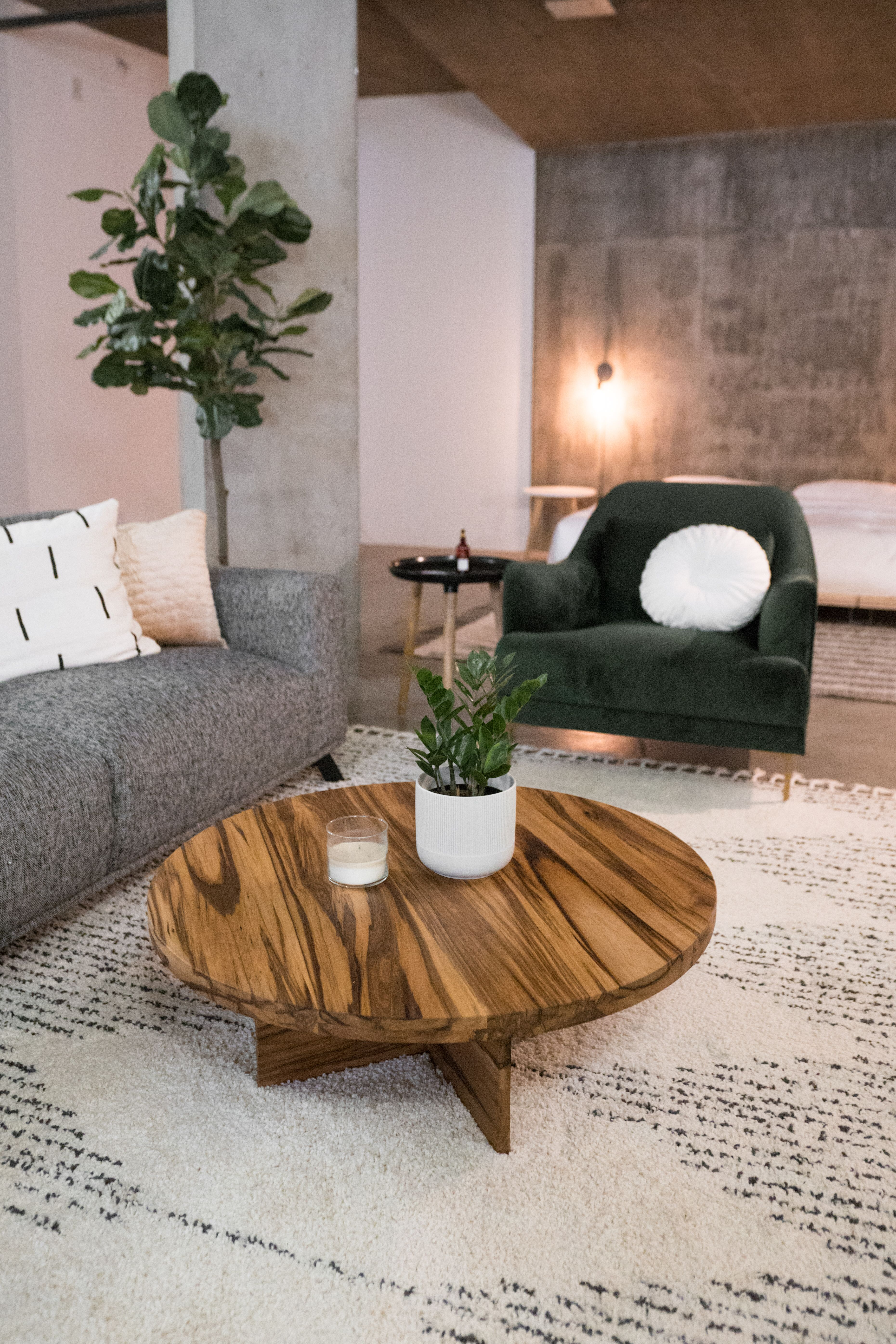 The Horizon Round Coffee Table In A Modern Industrial Loft With