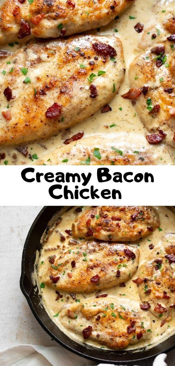 Creamy Bacon Chicken Chicken Bacon Recipes Bacon Recipes Chicken Recipes