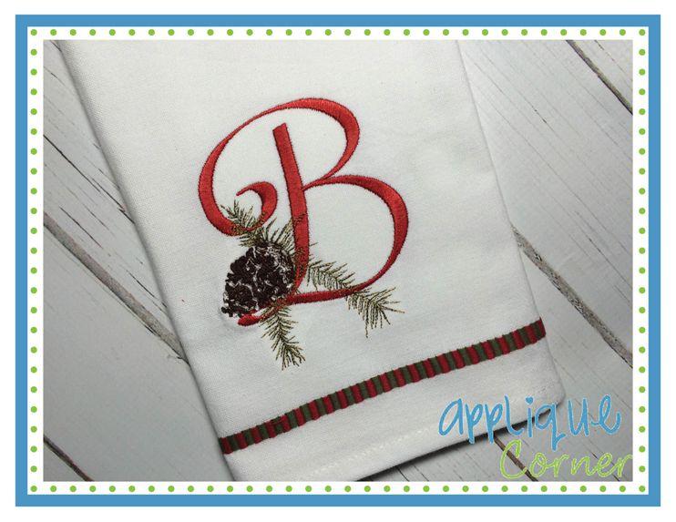 Pine cone embroidery font applique corner machine applique and