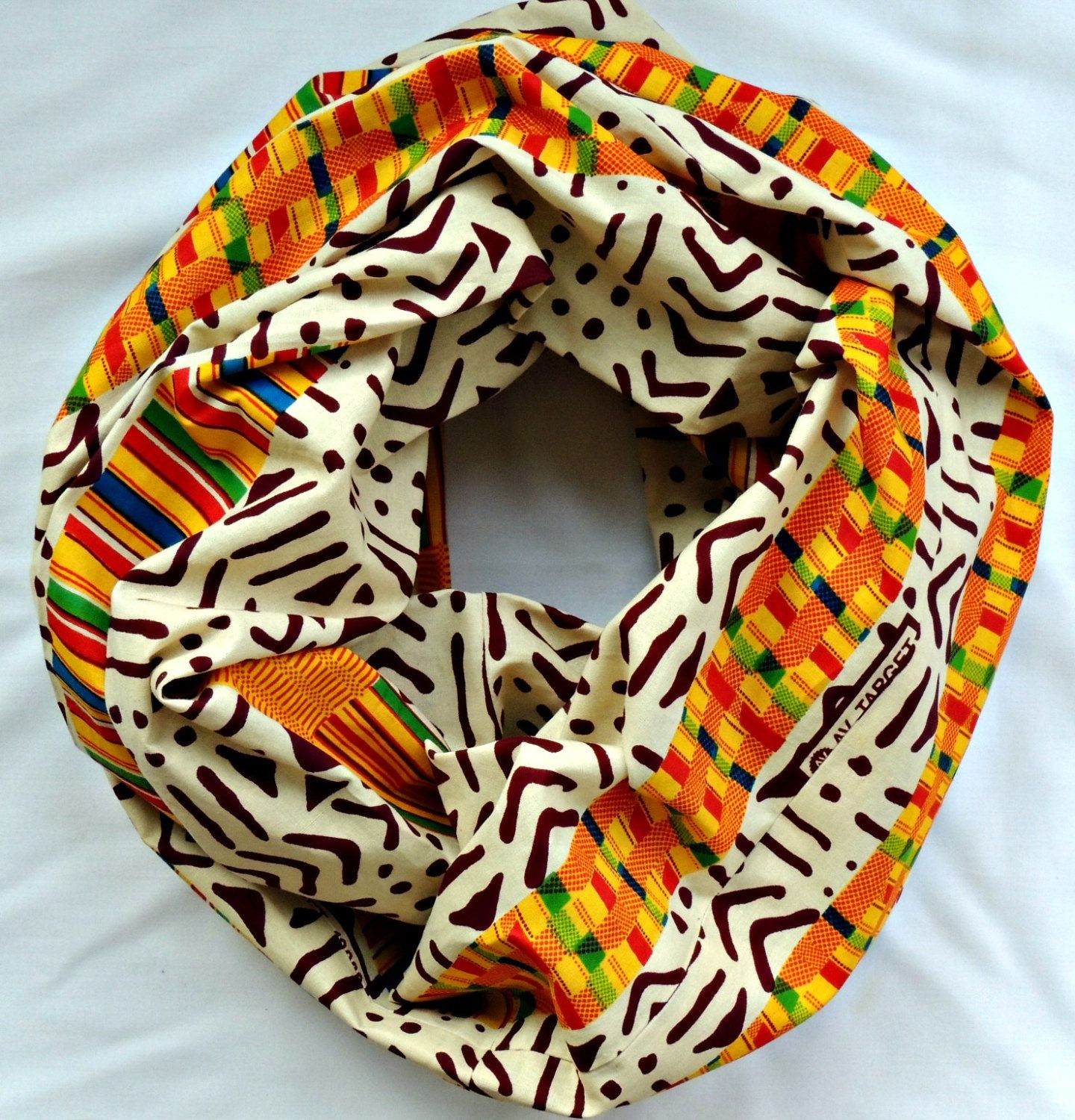 Tribal Print Kente Cloth Cotton Infinity Scarf by SewSophistikated on Etsy