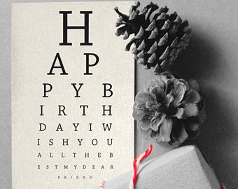 Happy Birthday Printable ~ Printable happy birthday card eye chart instant download card