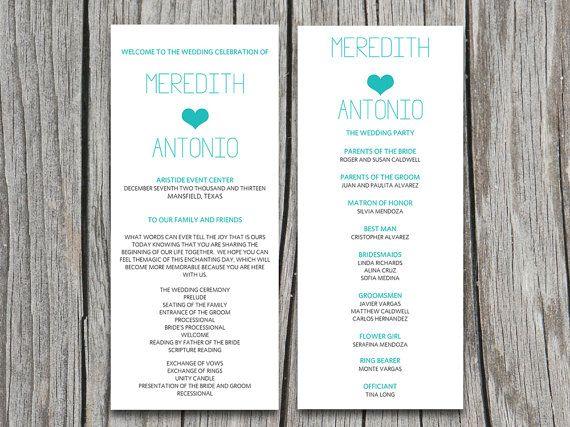Tiffany Blue Heart Typography Wedding Program Microsoft