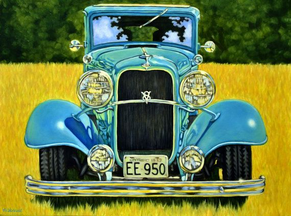 Antique Ford Oil On Panel 9 X 12 Inches Painting Of A Car