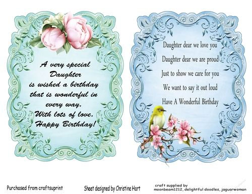 Inserts daughter on craftsuprint designed by christine hart two inserts daughter on craftsuprint designed by christine hart two pretty inserts especially for daughter both card sayingsbirthday bookmarktalkfo Image collections