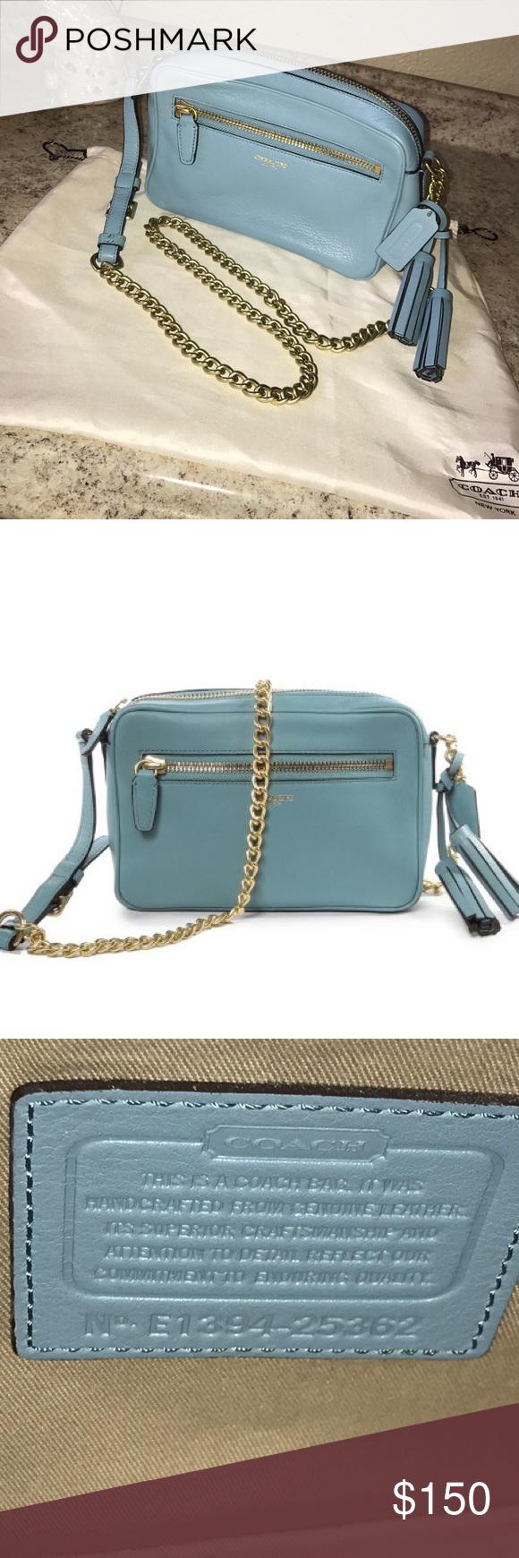 a836e64378 Coach  Legacy  Leather Flight bag 25362  Authentic  Robin egg blue  Tiffany